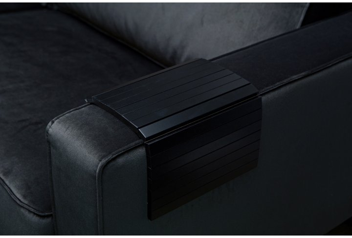 Armleuning flexibel dienblad zwart