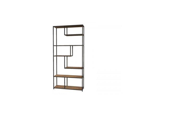 Open rek of boekenkast in metaal en afgewerkt met hout