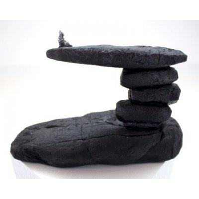 Beeld wolf op rots zwart