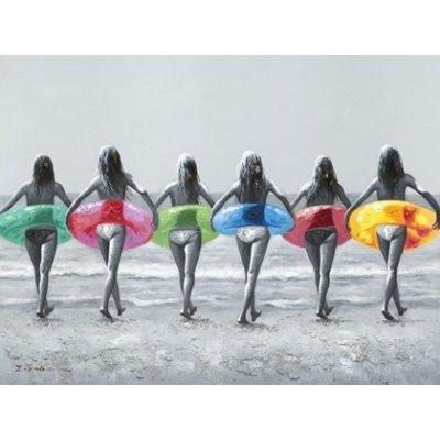 Olieverfschilderij meisjes op het strand