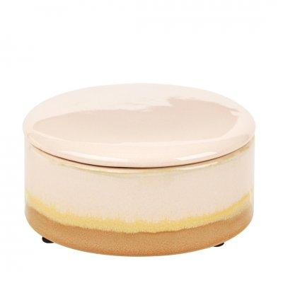 Carol deco box w/lid ceramic cream dia14 h7 cm -c-