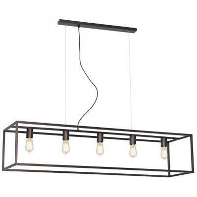 Kago hanglamp rechthoek aged copper 5 lichtpunten