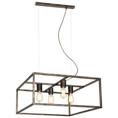 Kago hanglamp vierkant ruggine 4 lichtpunten