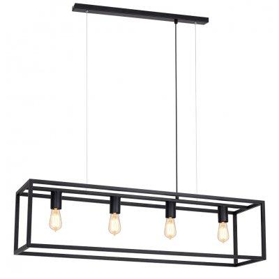 Kago hanglamp rechthoek zwart 4 lichtpunten