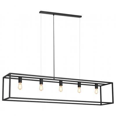 Kago hanglamp rechthoek zwart 5 lichtpunten