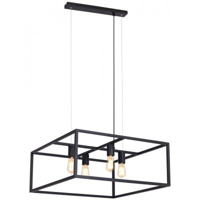 Kago hanglamp vierkant  zwart 4 lichtpunten