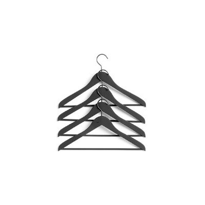 Soft coat hanger (set van 4) slim black met broeklat 500083