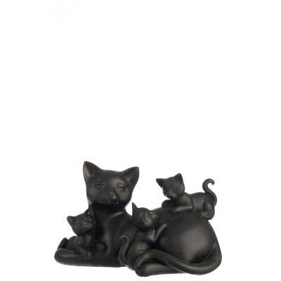 Kat met 3 kittens bruin