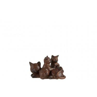 Kat met 2 kittens bruin