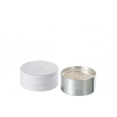 Geurkaars simplicity wit/zilver