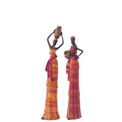 Vrouw afr kr hfd oranje+roze