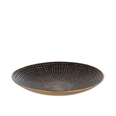 Schaal rond zwart/goud (40x40x6cm) j-line 18338