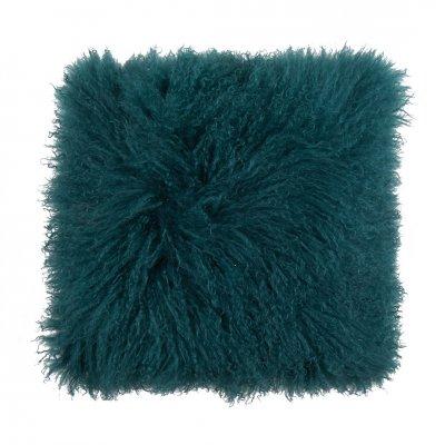 Tibetan lamb fur pillow pine green 40x40 126857 -c-
