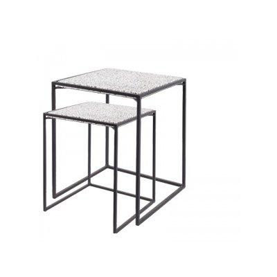 Tabia square coffee table black/white set2