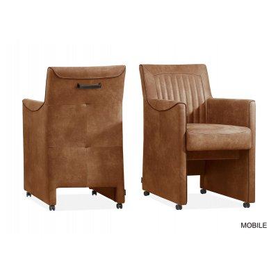 Mobile zetel op wieltjes (cognac)