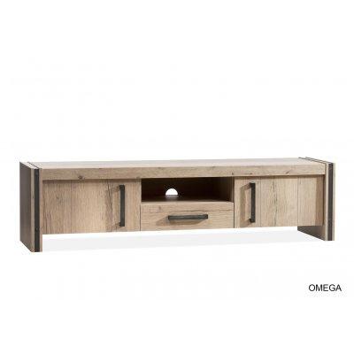 Omega tv kast laag 2 dr/1la/1 open lamulux