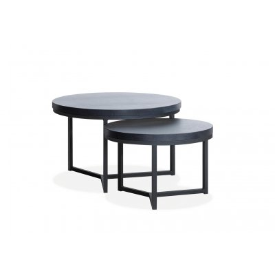 Set van 2 salontafels braun, 1 x groot, 1 x midden lamulux old piano