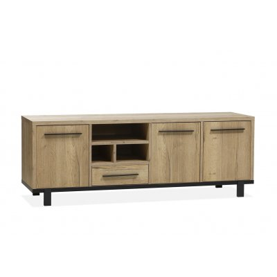 Dressoir woody 3 deuren + 1 lade + 3 open lamulux natur