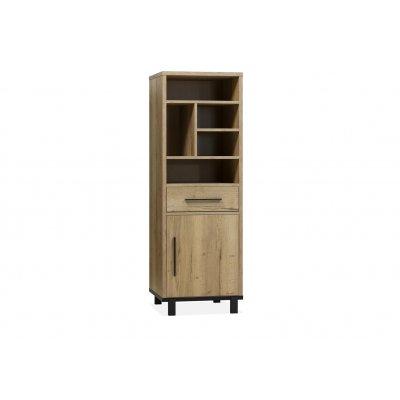 Boekenkast woody 1 deur + 1 lade + 5 open lamulux natur