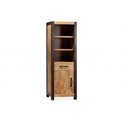Boekenkast 1 deur/1 lade/3 open lamulux mango
