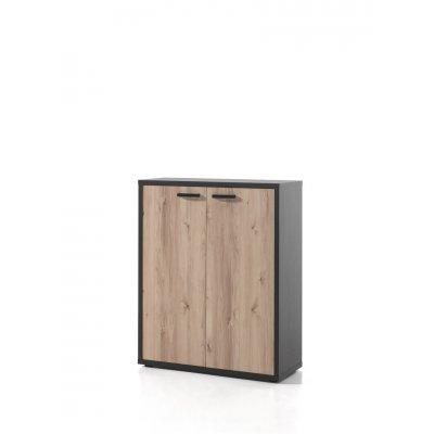 Lage kast - 2 deuren (grijs+den)