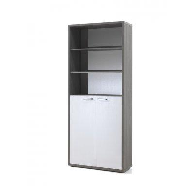 Kast - onderaan 2 deuren - bovenaan open (grijs+wit)