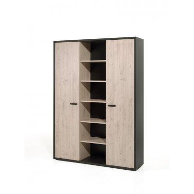 Hoge kast met 2 deuren en open in het midden h in zwart/kastanje