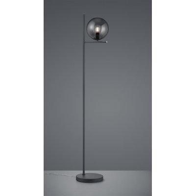 Staande lamp pure antraciet/glas rookkleur
