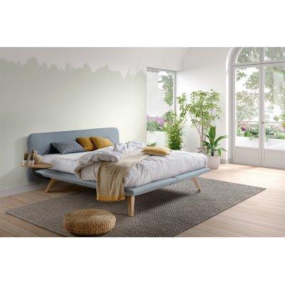 Bed fly 200x210 in stof lca met hoofdbord + matras wellness + poten oslo