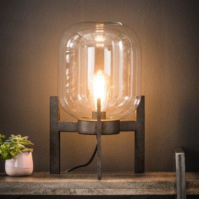 Tafellamp glazen kap op decoratieve poot , 1xe27 , led mogelijk