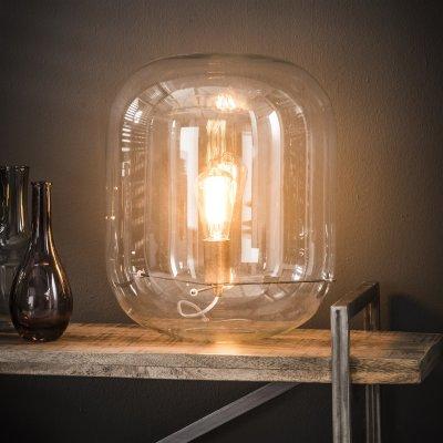 Tafellamp met glazen kap , 1xe27 , led mogelijk