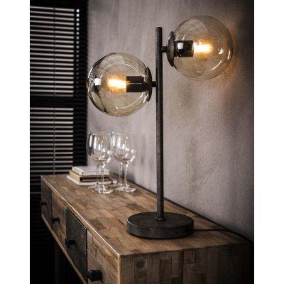 Tafelllamp 2 ronde bollen , 2xe27 , excl lampen , led mogelijk